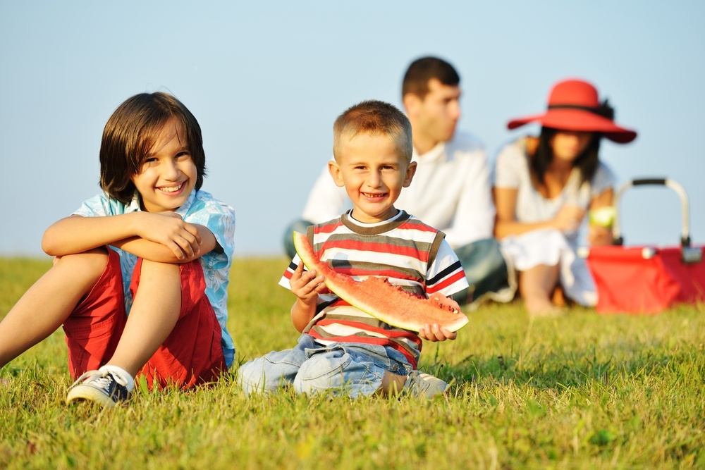 Cheerful children on beautiful summer meadow enjoying and having picnic